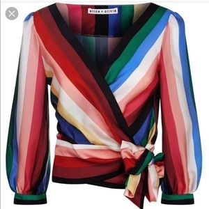 Fall 2018 Alice + Olivia wrapped multicolor top S